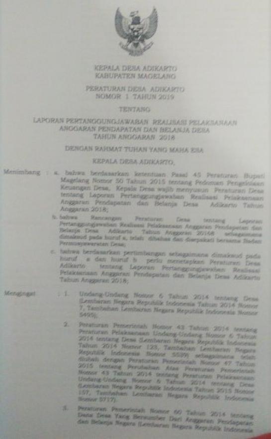 Image : Laporan penyelenggaraan Pemerintahan Desa akhir tahun anggaran 2018